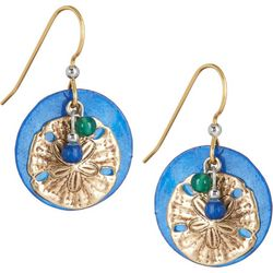 Silver Forest Blue Shell Sand Dollar Earrings