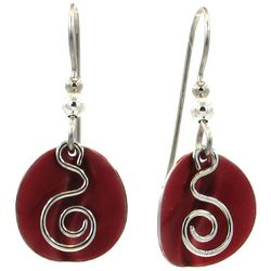 Silver Forest Layered Red Disc & Swirl Earrings