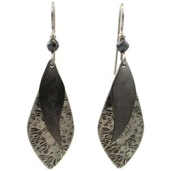 Silver Forest Black Layered Shapes Drop Earrings