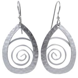 Silver Forest Hammered Swirl Silver Tone Drop Earrings