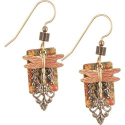 Silver Forest Square Filigree & Dragonfly Earrings