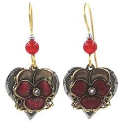 Silver Forest Red Flower & Heart Drop Earrings