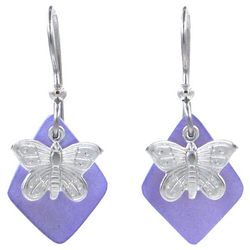 Silver Forest Silver Tone Layered Butterfly Drop Earrings