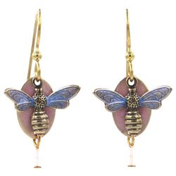Silver Forest Gold Tone Layered Bumble Bee Drop Earrings