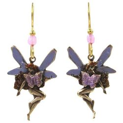 Silver Forest Gold Tone Layered Fairy Drop Earrings