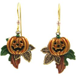 Silver Forest Fall Harvest Pumpkin & Leaf Earrings