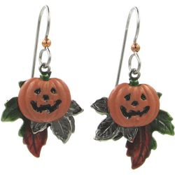 Silver Forest Jack-O-Lantern Fall Leaf Earrings