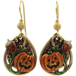 Silver Forest Fall Harvest Pumpkin Acorn Earrings