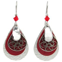 Silver Forest Red Layered Silver Tone Teardrop Earrings
