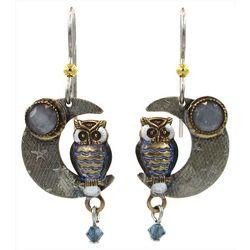 Silver Forest Two Tone Owl & Moon Dangle Earrings