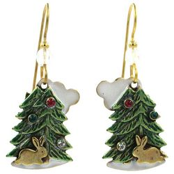 Silver Forest Holiday Layered Tree & Bunny Earrings