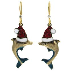 Silver Forest Santa Hat Dolphin Earrings