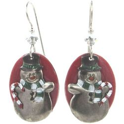 Silver Forest Holiday Snowman Drop Earrings