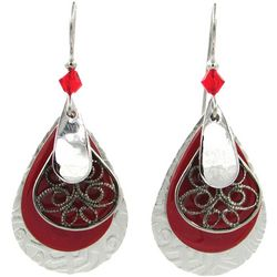 Silver Forest Multi Layered Red Teardrop Earrings
