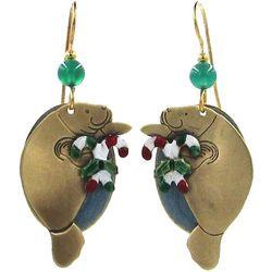 Silver Forest Holiday Manatee Layered Earrings
