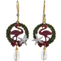 Silver Forest Holiday Flamingo & Wreath Earrings