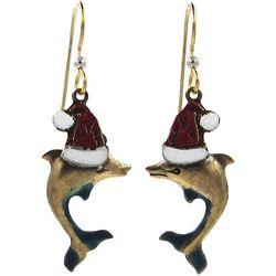 Silver Forest Holiday Santa Helper Dolphin Earrings