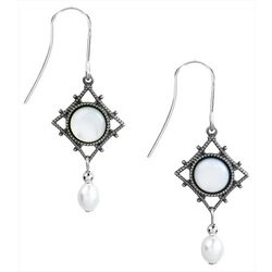 Silver Forest Filigree Diamond Shape Bead Drop Earrings