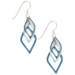 Silver Forest Blue Dangle Earrings