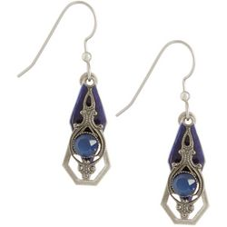 Silver Forest Blue Enamel Stone Layered Earrings