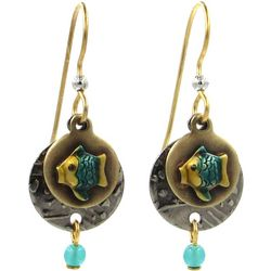 Silver Forest Two Tone Disc Teal Fish Drop Earring