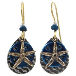 Silver Forest Blue Sand Dollar Two Tone Earrings