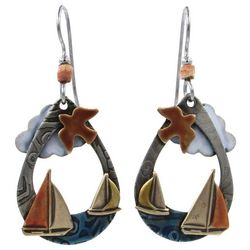 Silver Forest Nautical Sailboat Teardrop Earrings