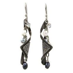 Silver Forest Metal Wrap Linear Bead Earrings
