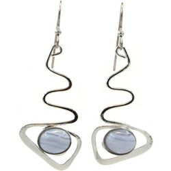 Silver Forest Zig Zag Grey Cabochon Oval Earrings