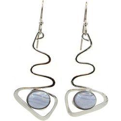 Silver Forest Zig Zag Grey Cabochon Oval Earrings