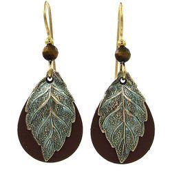 Silver Forest Textured Leaf Brown Teardrop Earrings