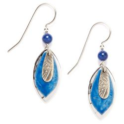 Silver Forest Tri-Layer Blue Drop Earrings
