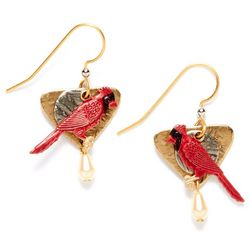 Silver Forest Cardinal Pearlescent Drop Earrings