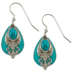 Silver Forest Turquoise Filigree Earrings