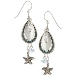 Silver Forest Teardrop Starfish Dangle Earrings