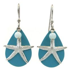 Silver Forest Starfish Teardrop Earrings