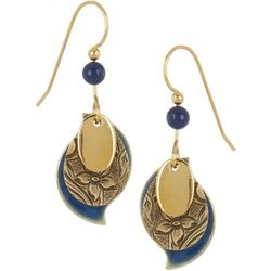 Silver Forest Gold Tone Textured Paisley Earrings