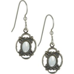 Silver Forest White Oval Bead Filigree Earrings