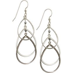 Silver Forest Teardrop Triple Tone Earrings