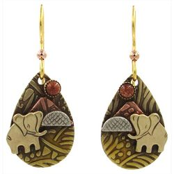 Silver Forest Textured Elephant Teardrop Earrings