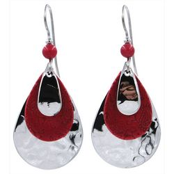 Silver Forest Red & Silver Tone Teardrop Earrings