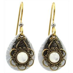 Silver Forest Filigree Overlay Teardrop Earrings