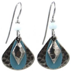 Silver Forest Blue Layered Bead Earrings