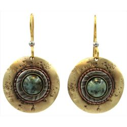 Silver Forest Tri Tone Round Disc Drop Earrings