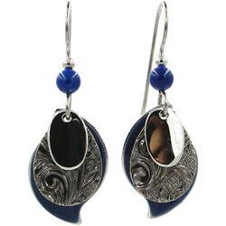 Silver Forest Blue & Textured Teardrop Earrings