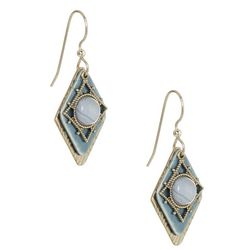 Silver Forest Blue Stone Layered Earrings