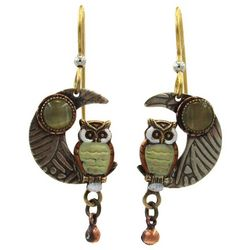 Silver Forest Tri Tone Owl & Moon Drop Earrings