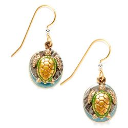 Silver Forest Turtle Layered Disc Earrings