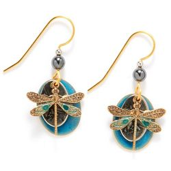 Silver Forest Dragonfly Gold Tone Earrings