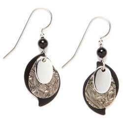 Silver Forest Three Layer Black Earrings
